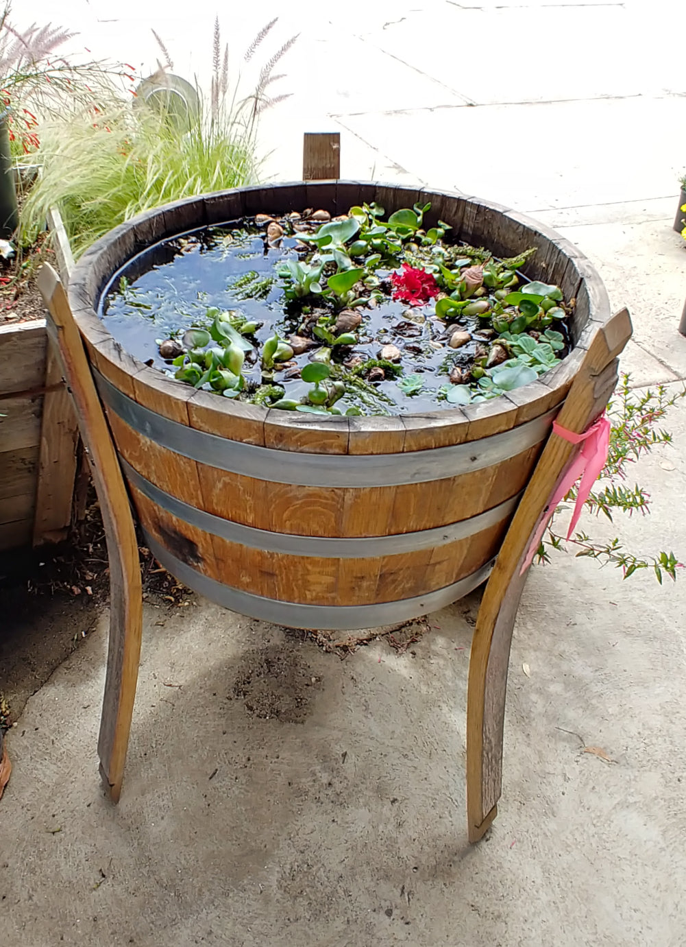 Wine Barrel Raised Planter - Bee Friendly