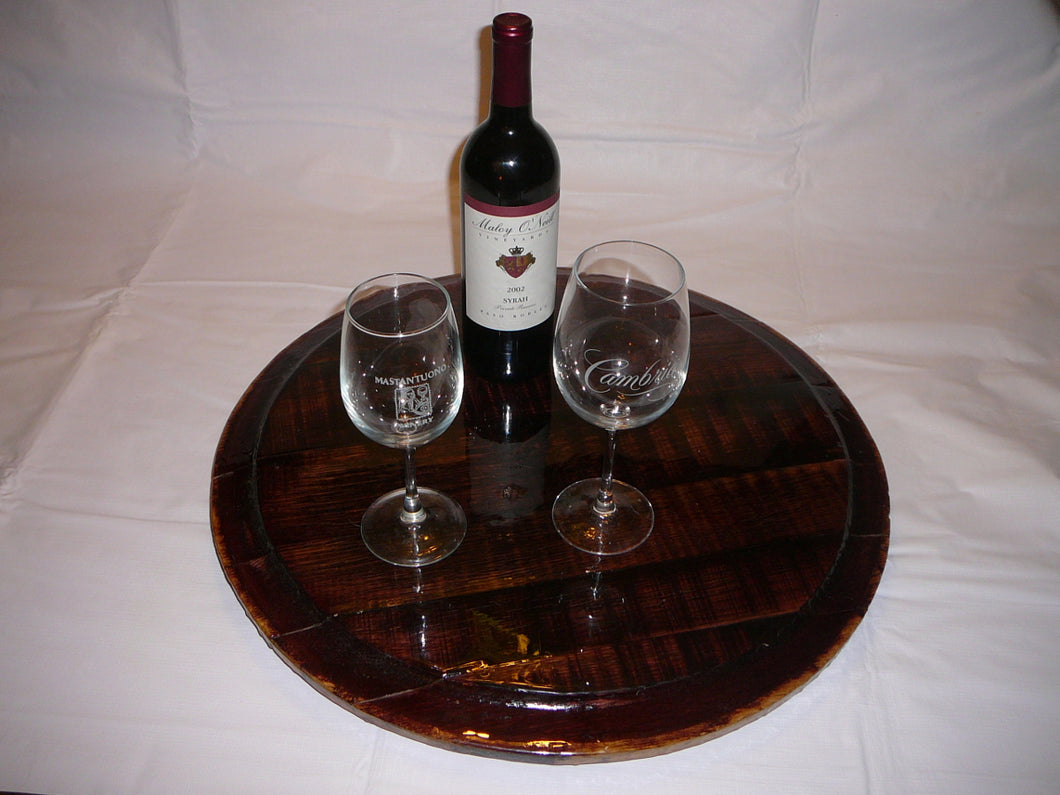 Wine Barrel Head Lazy Susan Red Wine