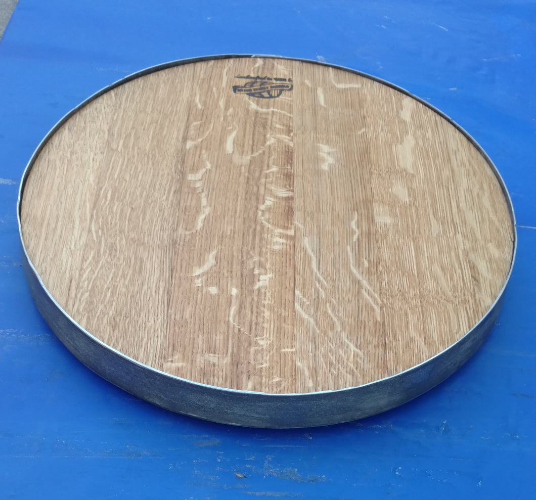 Wine Barrel Head Lazy Susan with Hoop