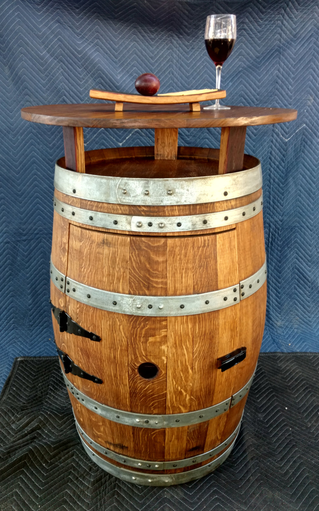 Wine Barrel Cabinet Pub Table with 30