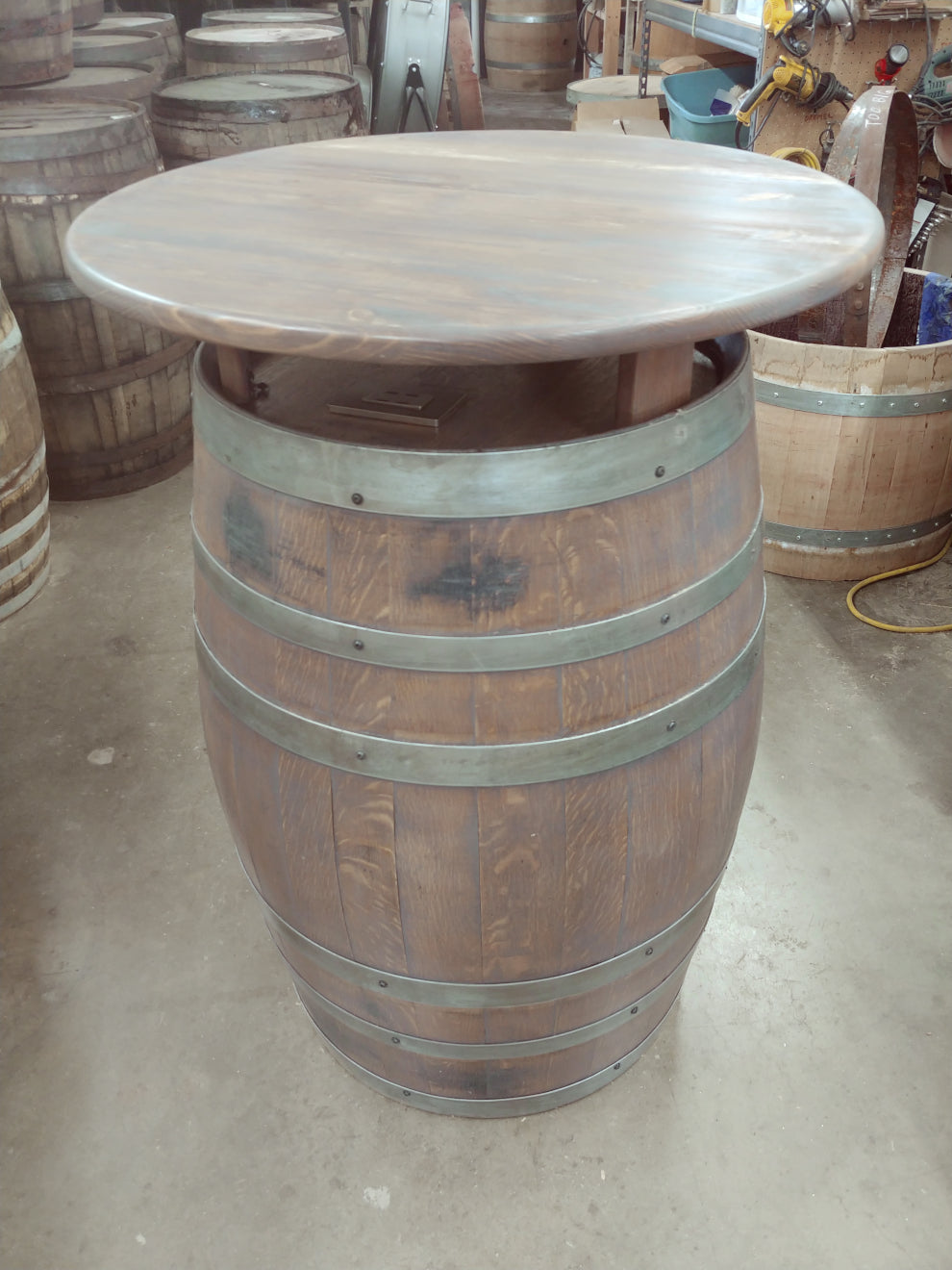 Wine Barrel Pub Table stained Grey