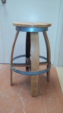 Wine Barrel Bar Stool - Round Cut