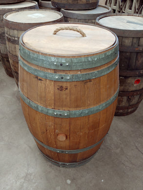 Wine Barrel Trash Can Finished