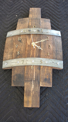 Wine Barrel Stave Clock - natural numbers