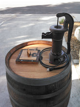 Closeup Wine Barrel Old Fashion Pump Water Fountain