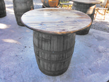 Whiskey Barrel Table - Knotty Pine Top