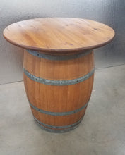 Wine Barrel Table - knotty pine top