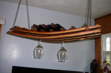 Wine Barrel Stave Hanging Wine Bottle and Glass Rack