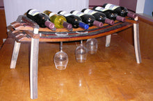 Wine Barrel Stave Countertop Wine Bottle and Glass Rack