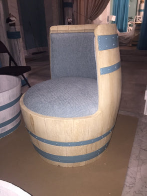 Wine Barrel Chair  Upholstered Seat and Back