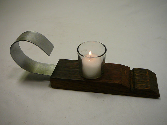 Wine Barrel Medieval Style Candleholder, 1 votive candle