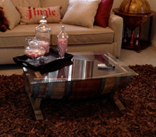 Wine Barrel Coffee Table Base with Glass Top sample