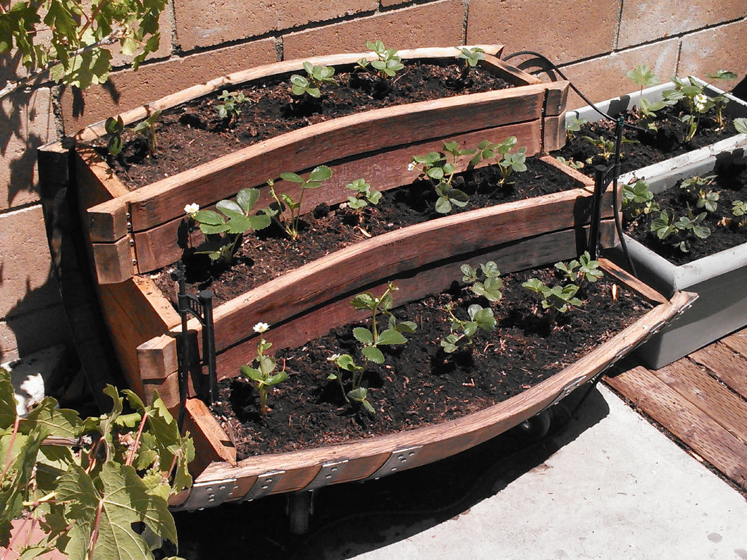 Wine Barrel 3-Level Planter