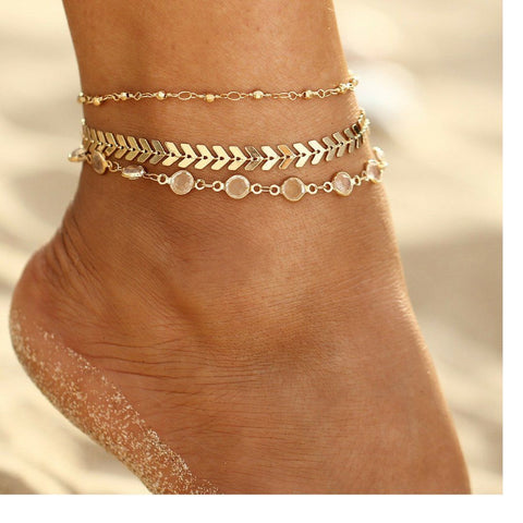 Crystal Sequins Anklet Set For Women