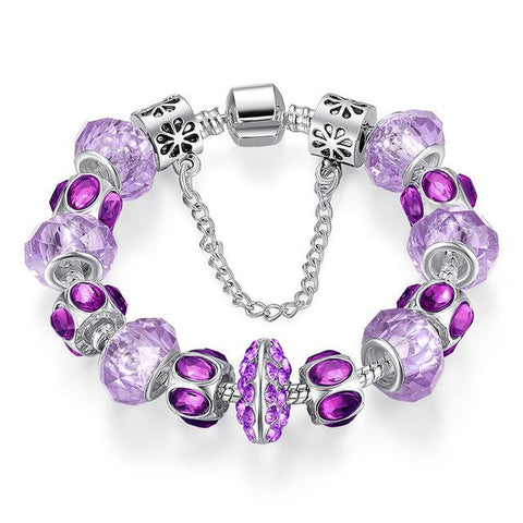5 Colors Silver Purple Crystal Bead Charm Bracelet