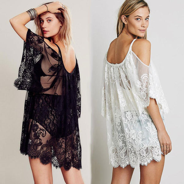 Women Beach Wear - Sexy Strap Sheer Floral Lace Embroidered Crochet Summer Dresses