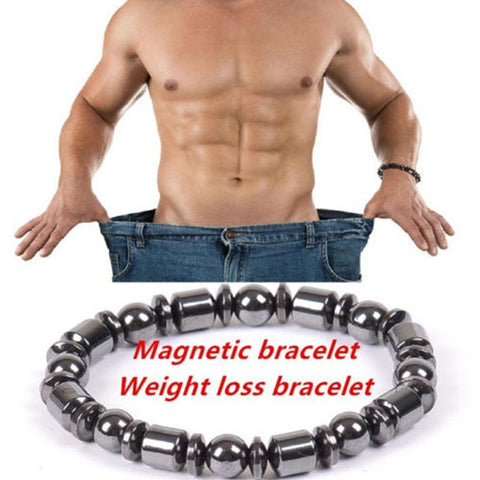 1pcs Weight Loss Round Black Stone Magnetic Therapy Bracelet Health Care Luxury Unisex