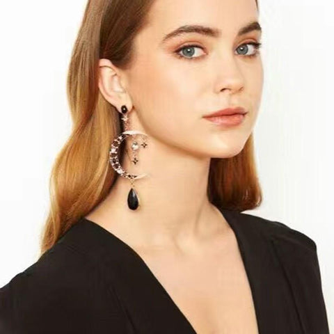 Black Crystal Golden Tone Dangle, Moon Drop Big Earrings