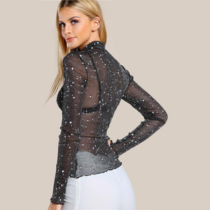 Mock Neck Lettuce Hem Glitter Mesh Blouse Sexy  Long Sleeve