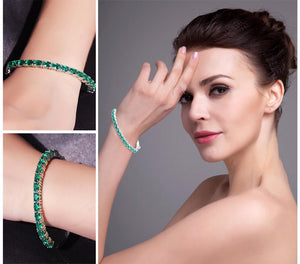 Gift Idea - 5.8ct Created Emerald Bracelet 925 Sterling Silver