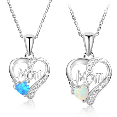 GIFT FOR MOM - New Design 925 Sterling Silver Necklaces Pendants/Heart Shape Opal Stone