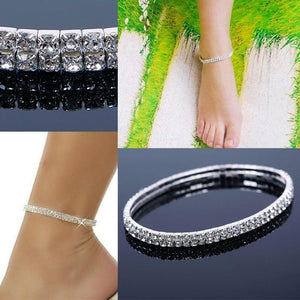 Anklet - Double Stretch Rhinestone Silver Gold  Anklet