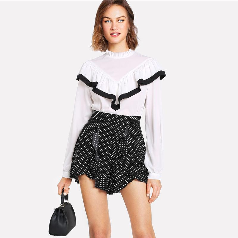 Casual Ruffle Trim Polka Dot Shorts - High Waist Zipper Fly Wide Leg