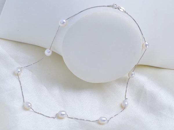 925 sterling silver necklace 7-8mm Real Natural Freshwater White pearls