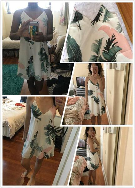Sexy White Beach Cami Summer Dress - Palm Leaf Print Double V Neck Casual Shift Dress
