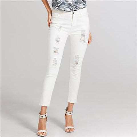 White Ripped Skinny Jeans 2018 Summer Mid Waist Pencil Pants