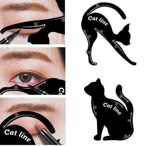 Lke 2 in 1 cat eyeliner stencil, matte pvc material smoky.