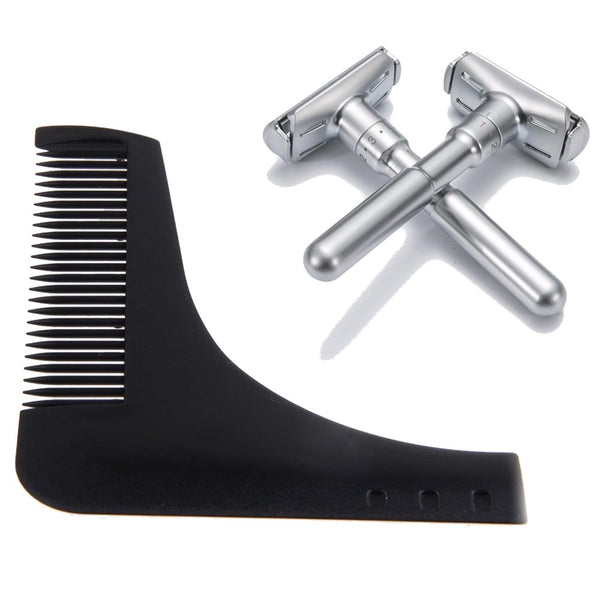 Beard Shaping Trim Comb + Classic Safety Razor Bundle Pack