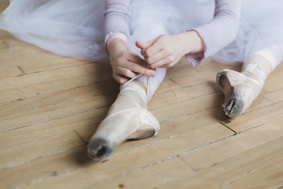 tied ballet slippers in sock club