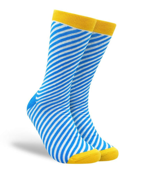 Diagonal Stripes - Blue, White and Yellow