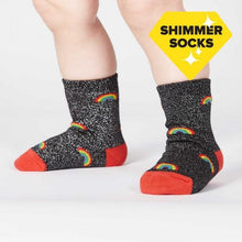 Load image into Gallery viewer, Glitter Over the Rainbow Toddler Crew Socks