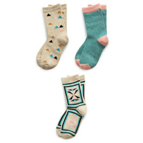 Assorted Girl's Pack of 3 Kids Socks Richer Poorer 9 - 11 Years F GSP-SS1506-L