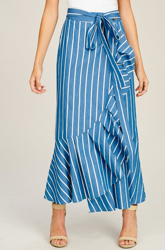 426d5a8ed05 BEAUTIFUL STRIPED RUFFLE WRAP MAXI SKIRT – Kylie Rena  Boutique
