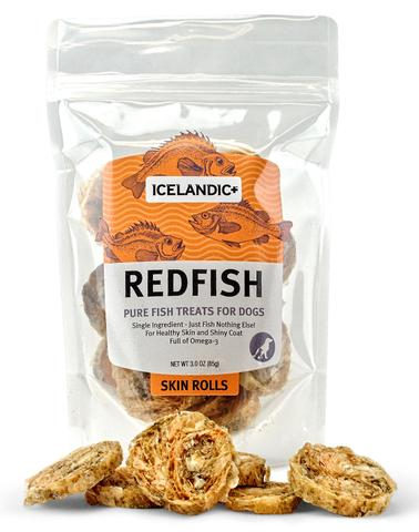Icelandic+ Redfish Skin Rolls Dog Treat 3-oz Bag