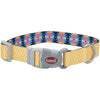 "Sublime 3-4"""" Adjustable Dog Collar-yellow Chevron W-aztec, Neck Size 8""""-12"""""
