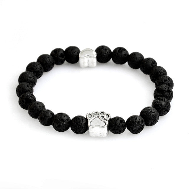Paw + Heart Natural Stone Bracelets