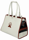 Posh Paw' Pet Carrier - White-brown Paw Print