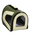 Airline Approved Folding Zippered Sporty Mesh Pet Carrier - Green & Khaki