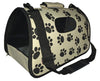 Airline Approved Folding Zippered Sporty Cage Pet Carrier - Paw Print