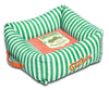 Touchdog Neutral-Striped Ultra-Plush Easy Wash Squared Designer Dog Bed
