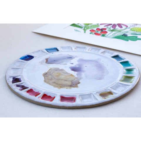 Handmade 21-Well Round Watercolor Palette