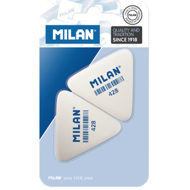 Milan Triangular Synthetic Rubber Eraser, 2-Pack