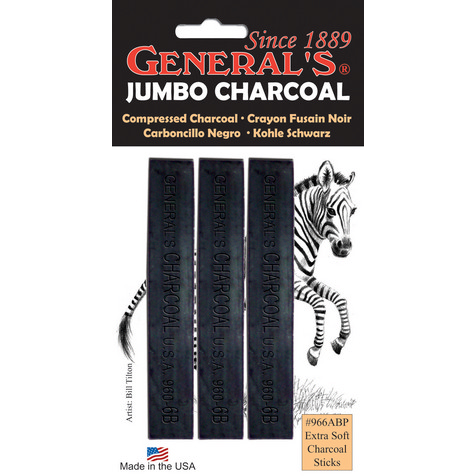 General's Jumbo Compressed Charcoal 3 Pack