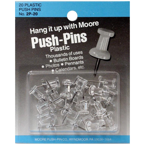 Moore Push Pins, Clear Plastic