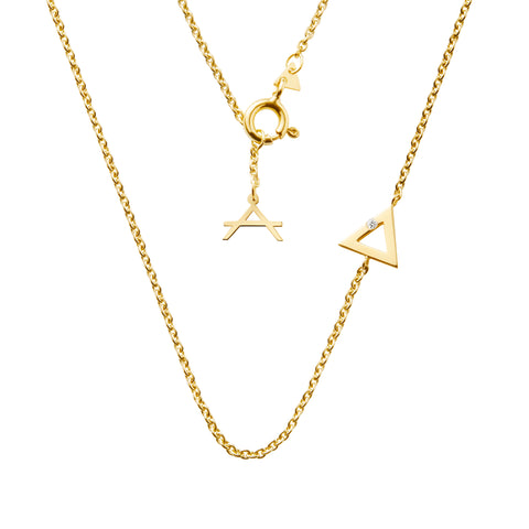 Triangle necklace white diamond Valentine's day gift idea