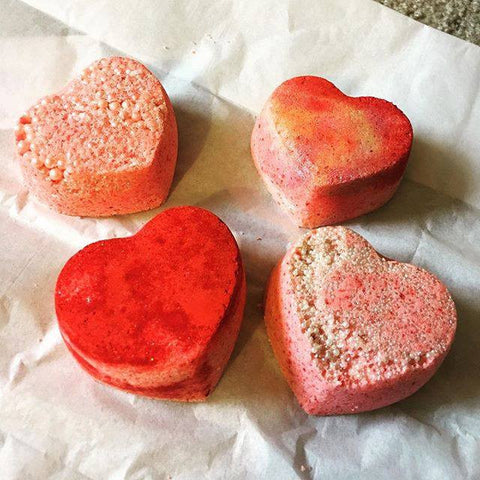 BombaBath 4 Piece Vanilla Heart Bath Bombs